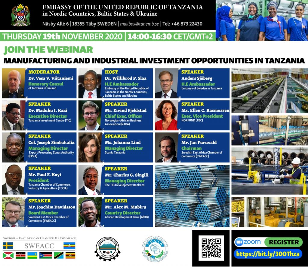 Webinar Flier on Manufacturing in Tanzania