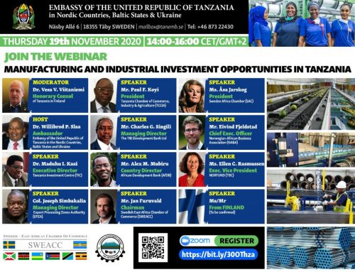 Webinar on Manufacturing and Industrial Investment Opportunities in Tanzania